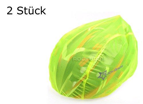 2 Stück Helmüberzug in GELB für Fahrradhelm - Schutz vor Regen, Wind, Sonne   reflektierendes Logo für Sicherheit   wasserdichter Regenüberzug   Helmschutz Kordelzug...