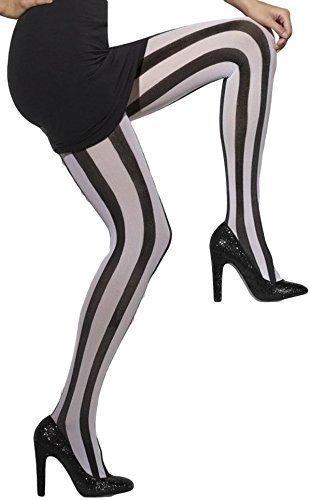 Damen Strumpfhose Sexy Schwarz Weiß vertikal gestreift Opak Halloween Beetlejuice Kostüm
