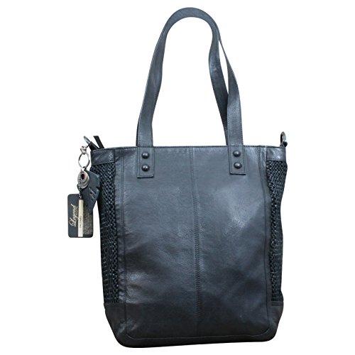 LEGEND Flecht Schultertasche Damen - Tasche Shopper Leder im Vintage-Style, Farbe:Grau Schwarz