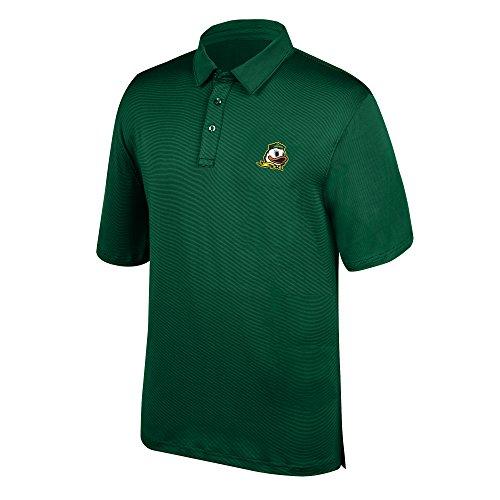 J America NCAA Men's Oregon Ducks Yarn Dye Striped Team Polo Shirt, Small, Forest Green -