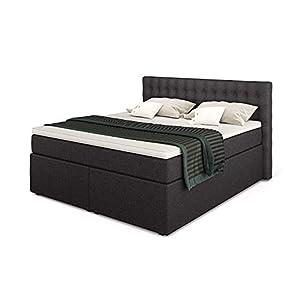 Betten Jumbo King Boxspringbett 140×200 cm 7-Zonen TFK Härtegrad H2 und Visco-Topper | Farbe Anthrazit | div. Größen…