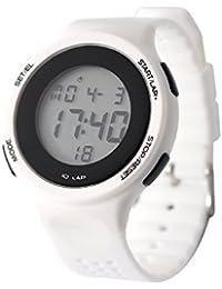 DSstyles reloj digital reloj deportivo relojes para las niñas con luz de cronógrafo de alarma - blanco