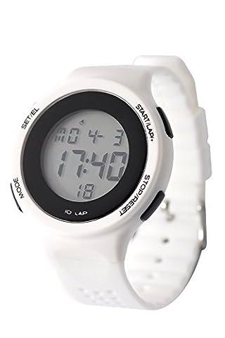 DSstyles Montre numérique Sport Montre Montres pour les filles avec alarme Chronographe Lumière - Blanc