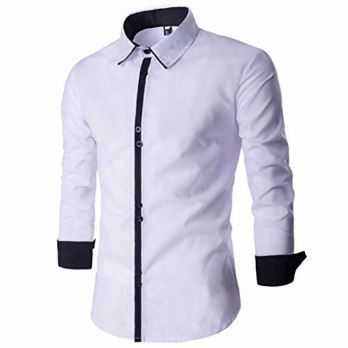 Men's Pure Simplicity Square Collar Long Sleeve Casual Shirts white