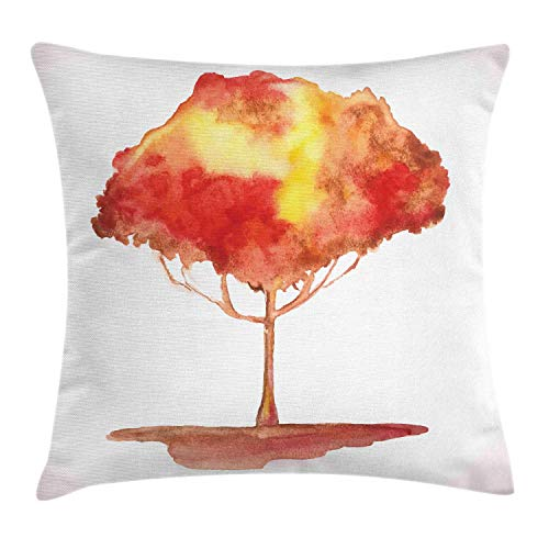 Watercolor Throw Pillow Cushion Cover, Tree of Life Interpretation Gradient Mystic Look Vignette Edges, Decorative Square Accent Pillow Case, Vermilion Mustard and Peach,12 X 12 Inches