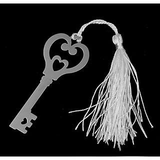Akooya Metal wedding gift souvenirs campus ornament silver-Metal Bookmark with White Silk Tassel