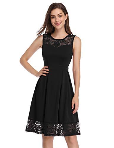 KOJOOIN Damen Elegant Kleider Spitzenkleid Ohne Arm Cocktailkleid Knielang Rockabilly Kleid Schwarz M (Schwarz Hochzeit Ball Kleid)