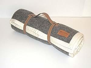 Galon plaid 100% laine gris et mauve 120x180