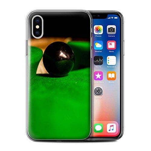 Stuff4 Gel TPU Hülle / Case für Apple iPhone X/10 / Blaue Kugel/Rack/Rosa Muster / Snooker Kollektion Schwarze Kugel/Tasche