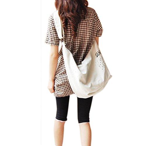 FakeFace Neue Art Modische Damen Canvas Tasche Schultertasche Umhängetasche Henkeltasche Damentasche Segeltuch Leinen Bag (Weiß) Weiß