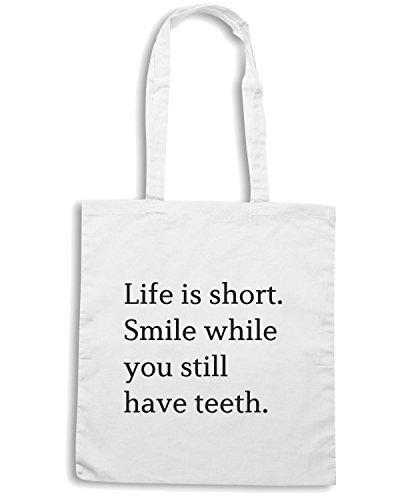 T-Shirtshock - Borsa Shopping CIT0148 Life is short. Smile while you have teeth! Bianco