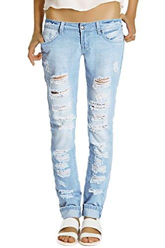 Bestyledberlin Damen Jeans Hosen, destroyed Hüftjeans, Blau, Gr. XL / 42
