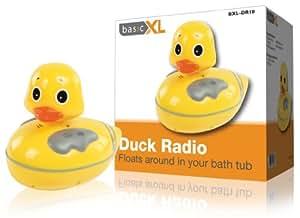 BASICXL BXL-DR10 Badradio Ente mit Lautsprecher/Lautstärkeregler (UKW/MW)