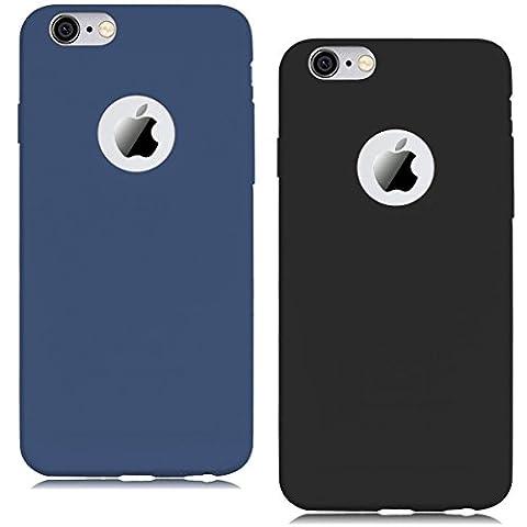 """[2 pièces] Coque iPhone 6 Plus (5.5""""),iPhone 6S Plus Coque Housse Etui Premium Flexible TPU Souple Silicone Ultra Mince Ultra Lége [Anti - Rayures] [Anti - dérapante] [Anti - Choc] Gel Housse Pare-chocs Protection Coque pour iPhone 6 Plus / 6S Plus (5.5"""") - Bleu + Noir"""