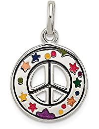 498b44b927e6 Massiv 925 Sterling Silber Emaille Peace Zeichen Anhänger Charm (12 ...
