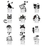 Adesivi per interruttore a parete, Adesivi per interruttore luce per cani gatti Adesivi per animali divertenti per soggiorno camera da letto Nero 12 pezzi