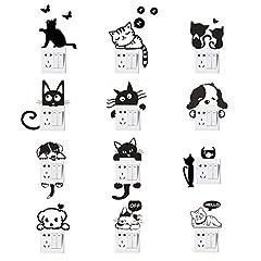 Idea Regalo - Adesivi per interruttore a parete, Adesivi per interruttore luce per cani gatti Adesivi per animali divertenti per soggiorno camera da letto Nero 12 pezzi