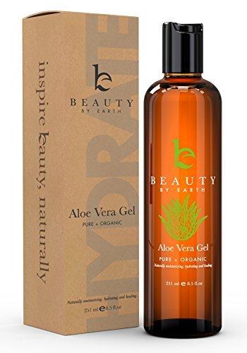 Beauty By Earth Aloe Vera Gel - Pure & Bio-Aloe für After Sun Hautpflege auf Gesicht und Körper; Verwenden Sie für beruhigenden Burns, Hautausschläge, Bisse, Akne, Ekzeme, Made in USA (Seife Antimikrobielle)