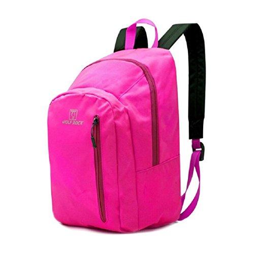 LF&F Backpack Camping outdoor Zaini Borse Borsa portatile ultra-leggera portatile alpinismo campeggio zaino in bicicletta zaino impermeabile resistente all'usura maschile e femminile blue 15L pink