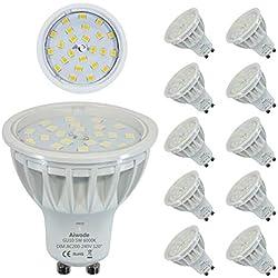 Dimmable 5W Ampoule GU10 LED Équivalent 50W Blanc Froid 6000K 600LM RA85 120°Angle de faisceau,Lot de 10.