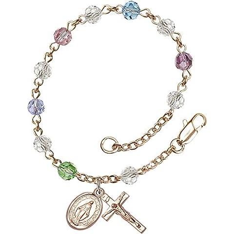14Ct oro con pulsera del rosario dispone de 5 mm Multi-color de los granos de Swarovski. El crucifijo mide 5/8 x 1/4.