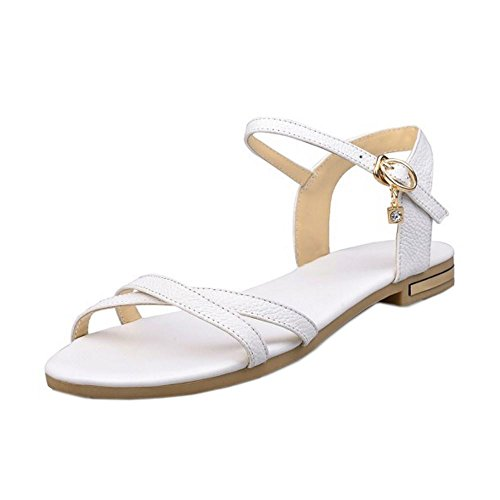 COOLCEPT Damen Mode-Event Knochelriemchen Sandalen Open Toe Slingback Flach Schuhe White
