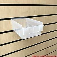 CompleteShopfittings NEW HEAVY DUTY MEDIUM SIZE STORAGE BOX SLATBOX SHELFBOX SLATWALL DISPLAY (Clear, 50)