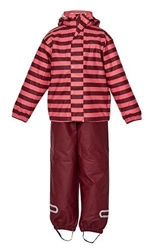 Elka tuta da pioggia pantaloni impermeabili + giacca da pioggia per bambini, impermeabile e antivento, a righe o einfaerbig, diversi colori e misure 220g/poliestere bordeaux - rose gestreift 4 anni