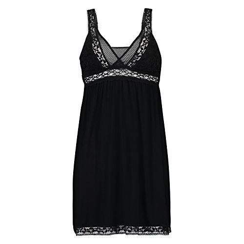 Hunkemöller Damen Graphic Lace Slipdress M, Black