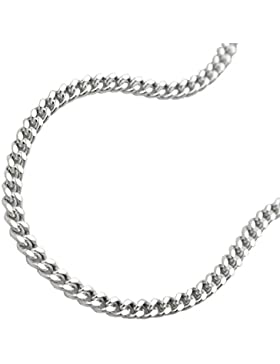 Unbespielt Kette Halskette Silberkette 925 Silber Damen Panzerkette 2 x diamantiert für Frauen Länge 55 cm x 2...