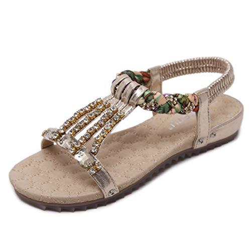 Été Femmes Bohemian Sandals Strass String Perle Flats en Plein Air Confortable Occasionnel Plage...