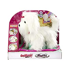 Animagic-256606 Fluffy Perro, Felpa Funcional, Color Blanco (256606)