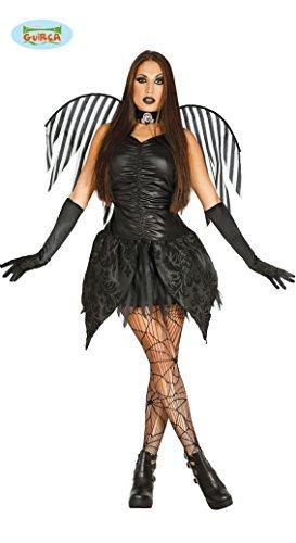 Dunkle Fee Halloween Kostüm für Damen Feen schwarzer Vampir Engel Damenkostüm Gr. S-M, (Halloween Feen Kostüm)