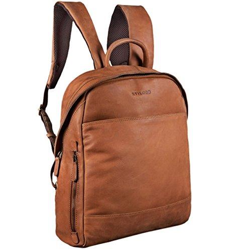 STILORD 'Marco' Uni Rucksack Leder Vintage Daypack groß für Herren Damen DIN A4 mit Laptop-Fach 13,3 Zoll ideal für Schule Business Freizeit echtes Rindsleder, Farbe:sattel - braun