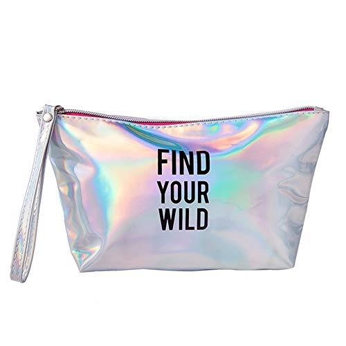 Artily Ladies Cosmetic Bag Sac de Rangement Carré Portable PU Cosmétique Trousse de Cosmétique Grande variété de Couleurs, PU, Silver, 17.5 * 7.5cm