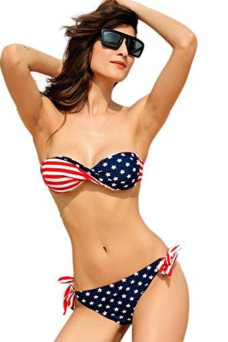 New Damen USA Stars & Stripes Twisted Bandeau Bikini Bademode Beachwear Sommer tragen Größe L UK 12–14EU 40–42 (Star Bandeau)