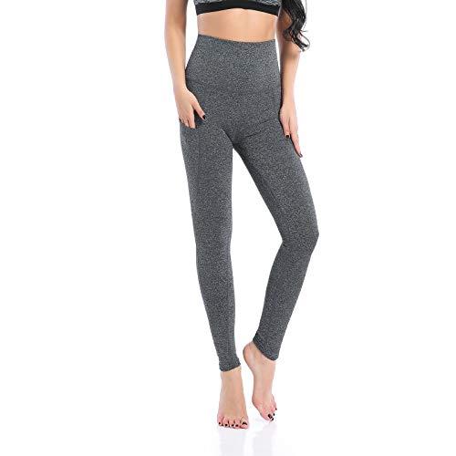 AMZSPORT Trendy Series Yoga Leggings per Donna Pantaloni a Vita Alta Pantaloni Sportivi con Tasca per Cellulare