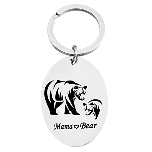MJARTORIA Silver Color Mama Baby Bear Stamped Keychain Ring Mother's Day