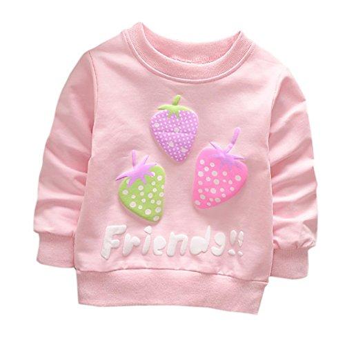 che Print T-Shirt Kleinkind Kind, DoraMe Baby Jungen Mädchen Lange ärmel Pullover Warme Bluse O-Ausschnitt Sweatshirt für 0-3 Jahr (A-Rosa, 12 Monate) (80 Halloween Cartoons)