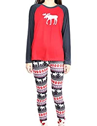 ec470802a0 ISSHE Pijamas de Navidad Familia Pijamas Navideñas Adultos Pijama  Familiares Manga Larga Hombre Mujer Niños Niña
