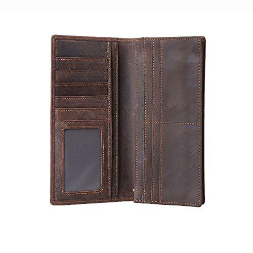 Dfgerten Herrenbrieftasche aus Leder Tägliche Verwendung Brieftasche Herren Lange schlanke Leder Brieftasche weiche echte RFID Sperrung Bifold Münzfach Geldbörse Kreditkarteninhaber Brown Money Clip