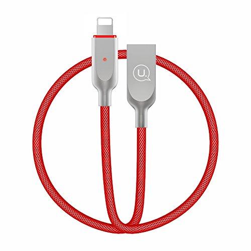 USAMS Cavo su USB 1.2M/3.9FT Durable Nylon Intrecciato Auto Disconnect LED Sync Data Caricamento Veloce per 8 Plus 7 Plus 6S 6 Plus 5 5S SE,iPad iPod