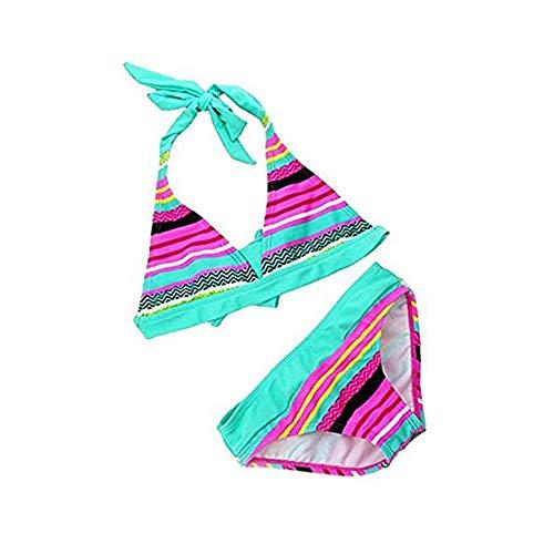 [Bikini Kinder M䤣hen] 2tlg Neckholder Bunte Bikini Tankini Set Baby Schwimmanzug Badeanzug Bademode  , Blau , 122