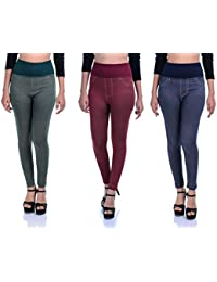 Timbre Women's Lycra Jeggings Combo Pack Of 3
