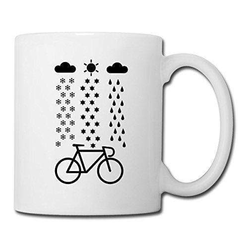 Spreadshirt Fahrrad Schnee Regen Sonne Rennrad Tasse, Weiß