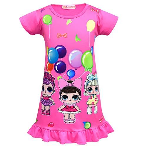 QYS Die Pyjama Party Girls LOL Überraschung Night Dress Nighty Nachthemd Pink Dress Pagent Theme,Rosered,100cm (Pagent Kleider Für Kinder)