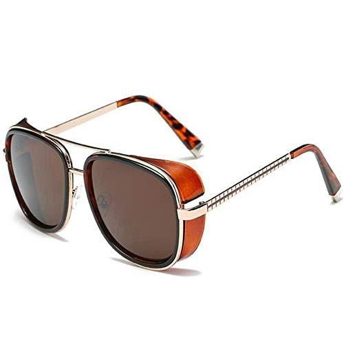 DZBMY Sonnenbrillen Iron Man Vintage-Mode für Männer und Frauen Vintage Designer Double Beam Metal Goggle