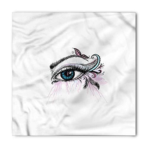 RAINNY Eyelash Bandana, Artistic Girls Makeup, Unisex Head and Neck Tie Head and Neck Tie Neckerchief Headdress Silk-Like 100% Polyester -