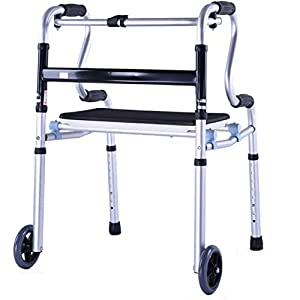 WZHWALKER Gehhilfe Für Ältere Menschen, Verstellbarer, Klappbarer Rehabilitations-Gehstuhl Aus Aluminiumlegierung, Laufrollenauflage Für Ältere Behinderte