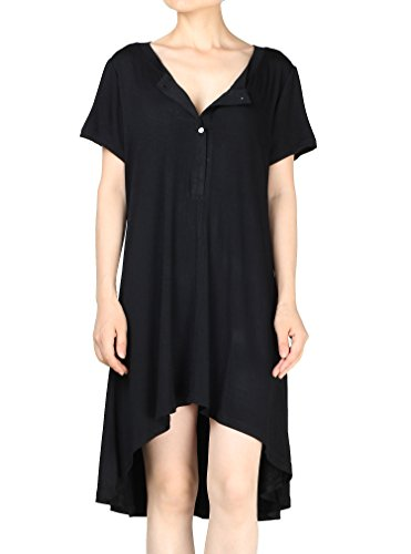 Baumwolle 3/4 Sleeve V-neck Top (Vogstyle Damen Kurzarm Casual Tunika T-Shirt Tee Dress Short Sleeve-Black L)